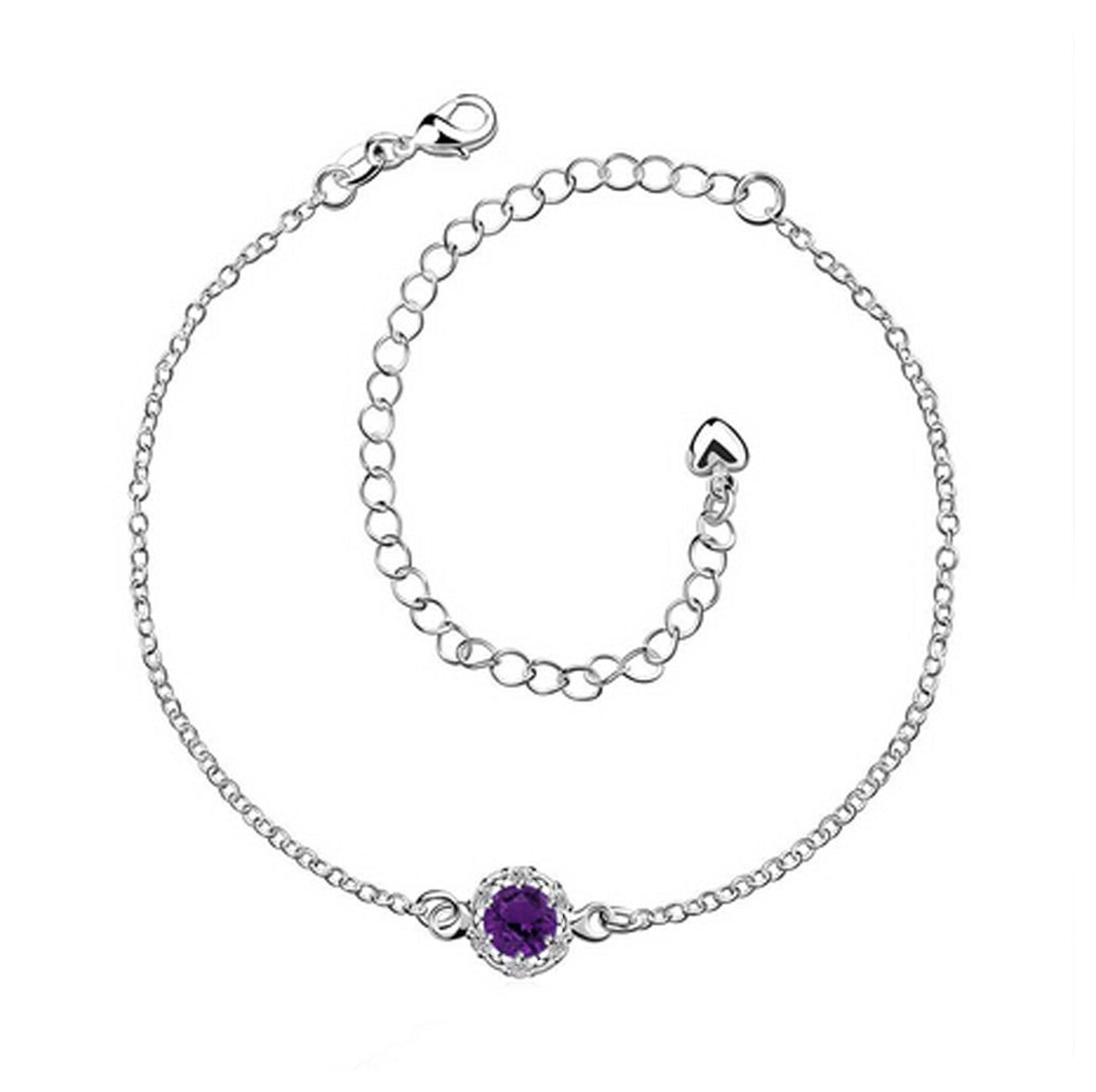 Aokarry Women's Chain Anklet Bracelet, Flower Purple Cubic Zirconia Crystal Chain Extender, 20CM