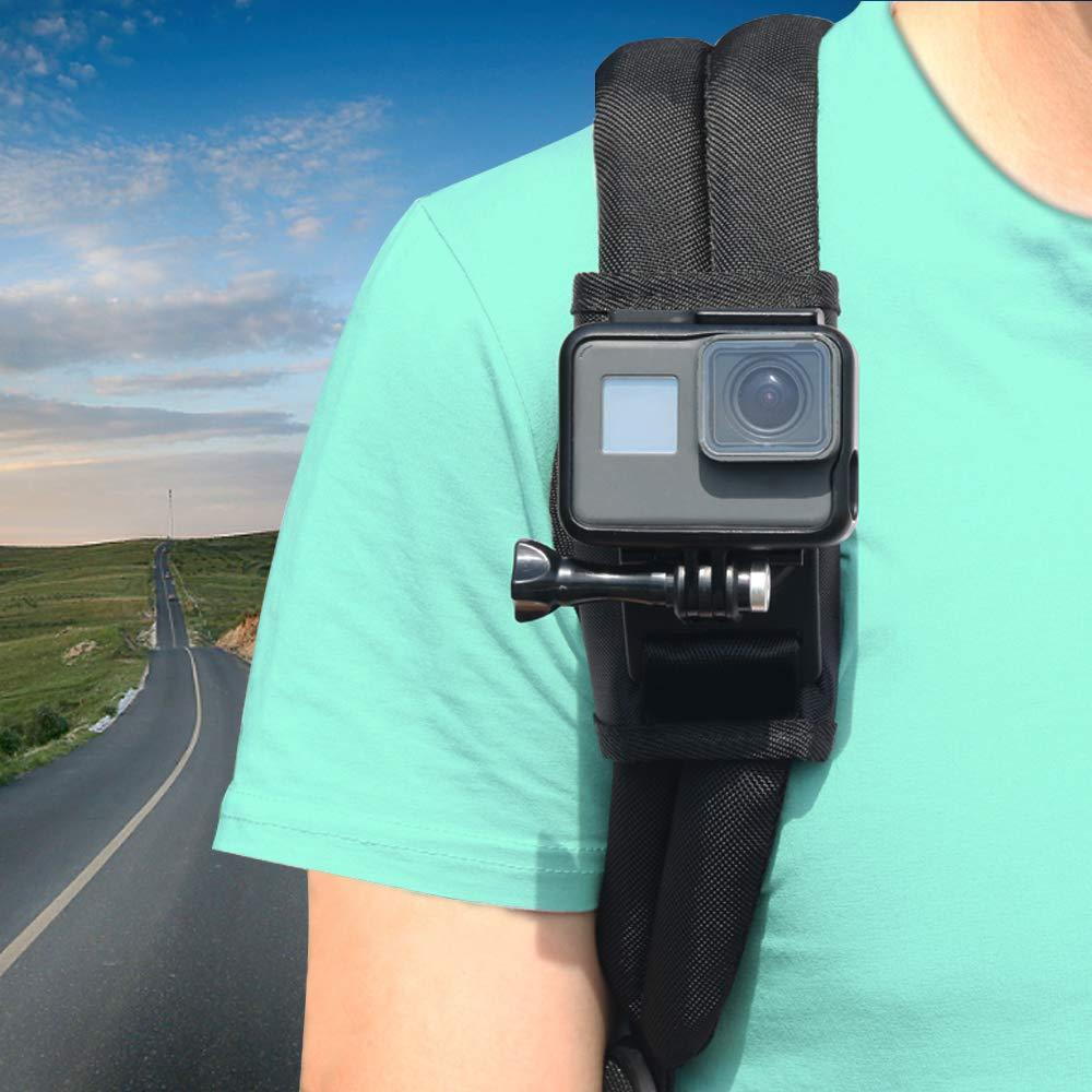 Tracolla Mount per GoPro Hero 6543+, Parapace confezione supporto del velcro tracolla regolabile a 360gradi rotativo gancio per action cam, Xiaomi, SJCAM PP254blk