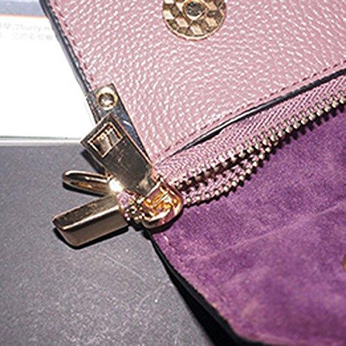 Nuevos Bolsos De Cuero Del Sobre Color Sólido Bolsos De Cadena De Las Señoras Carpeta De Cuero SapphireBlue
