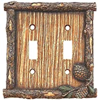 Pinecone & Twig Double Switch Plate by Black Forest Decor