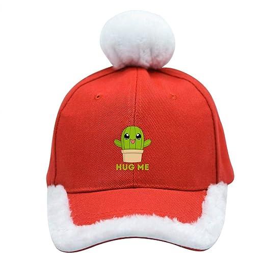 537809548edc9 Amazon.com  Hug Me Cactus Christmas Baseball Cap Xmas Santa Claus Hat   Clothing