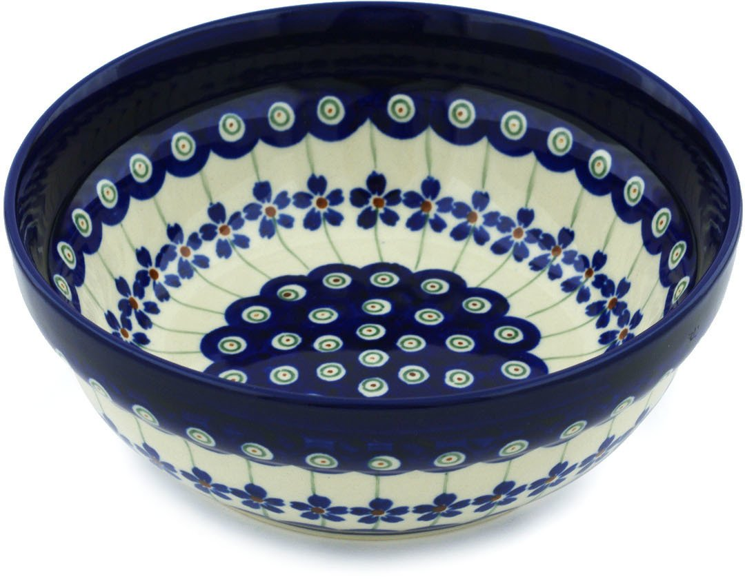 Polish Pottery Bowl 7-inch Flowering Peacock Boleslawiec