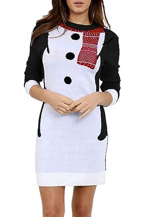 95663284596 Be Jealous Women s Xmas Muffler Snowman Costume Christmas Knitted Oversized  Jumper Mini Dress UK Plus Size 8-22  Amazon.co.uk  Clothing