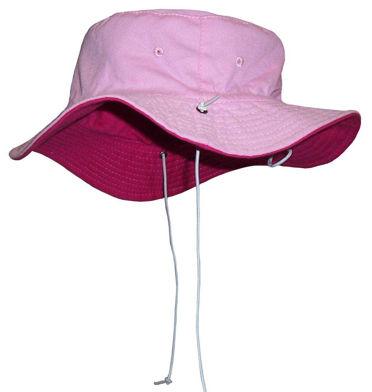 N'Ice Caps Baby Unisex Reversible and Adjustable Cotton Twill Aussie Sun Hat (52cm (20.5'') 18-36mos, Fuchsia/Pink)