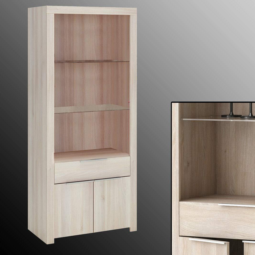habeig Wohnzimmer-Schrank Rubis Akazie mit Glasböden Anrichte Vitrine Highboard Schublade 180x78cm