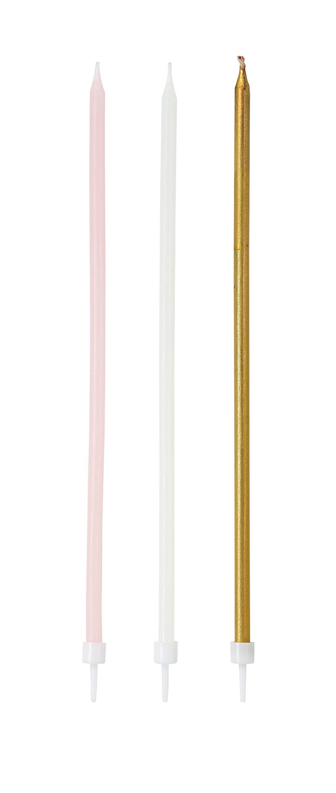 Talking Tables Pink Party Long Thin Cake Candles for a Birthday Party, Multicolor (16 Pack)