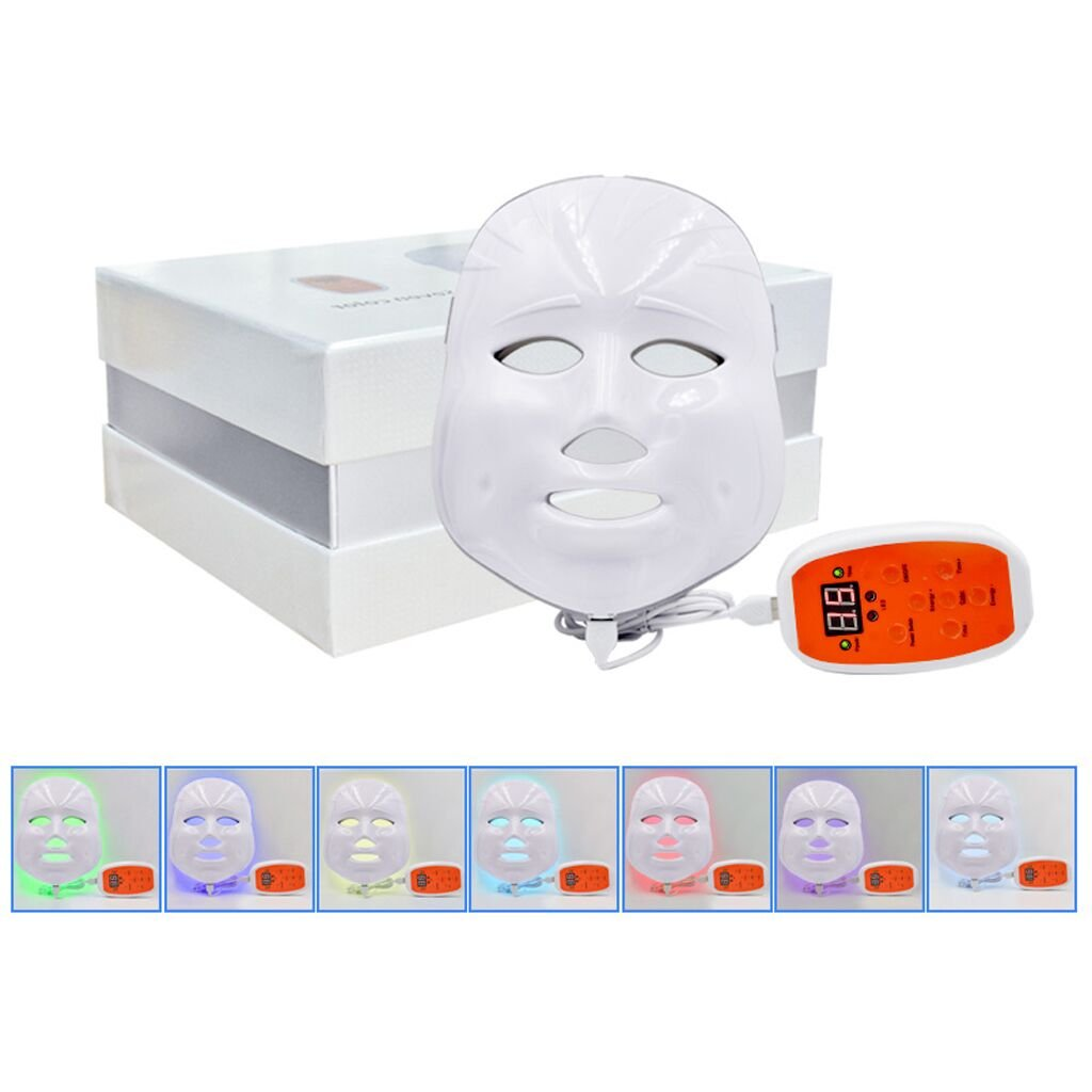 Phototherapy Trichromatic Color LED Mask Instrument Cold Light LED electronic Mask Instrument Professional Beauty Rejuvenation Instrument Therapy Facial Skin Care Mask Device