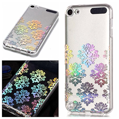 iPod Touch 5th / 6th Generation Clear Case Screen Protector, OYIME Plating Design Bright Pattern Slim Soft Rubber Glitter Brilliant Transparent Protective Backcover - Snowflake