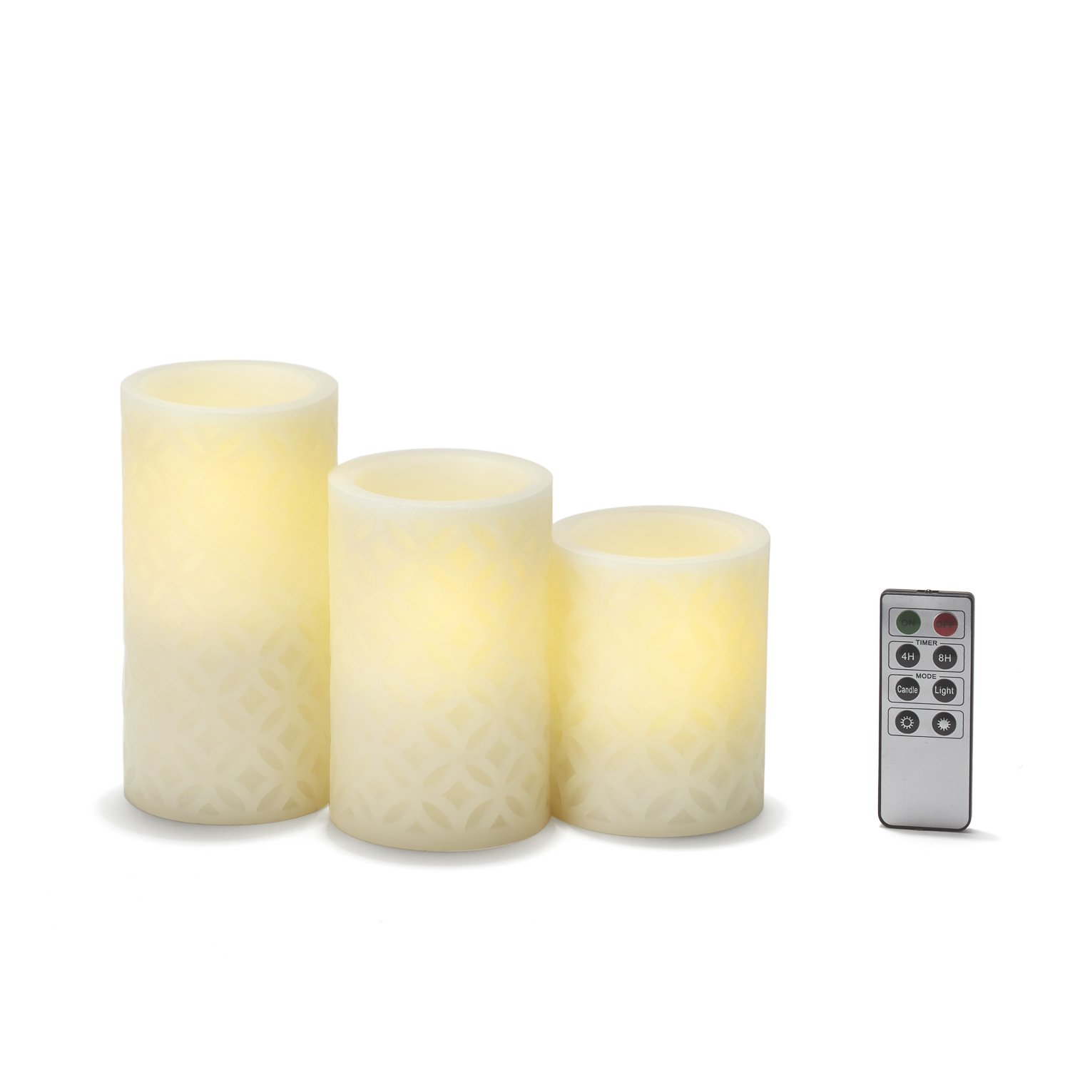 Flameless Pillar Candles with Remote, Ivory Carved Wax Candle Set with Warm White LEDs, Set of 3 - Batteries Included