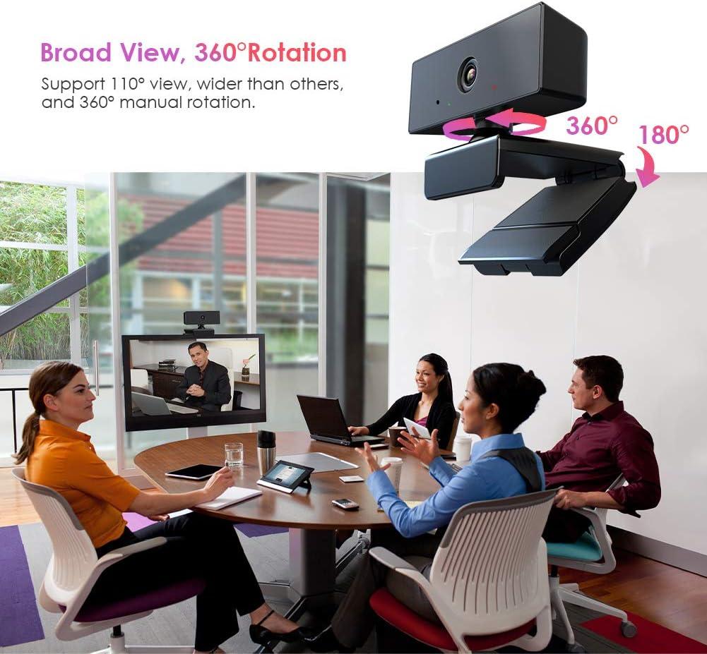 Full HD para Ordenador con micr/ófono Estudiar en l/ínea con Clip Giratorio Conferencias Topcony C/ámara Web USB de 1080P 5MP Linux,Mac OS para videollamadas Compatible con Windows Android TV