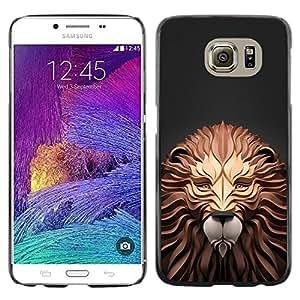 TopCaseStore / la caja del caucho duro de la cubierta de protección de la piel - Lion Gray Art Carving Wood Grey - Samsung Galaxy S6 SM-G920