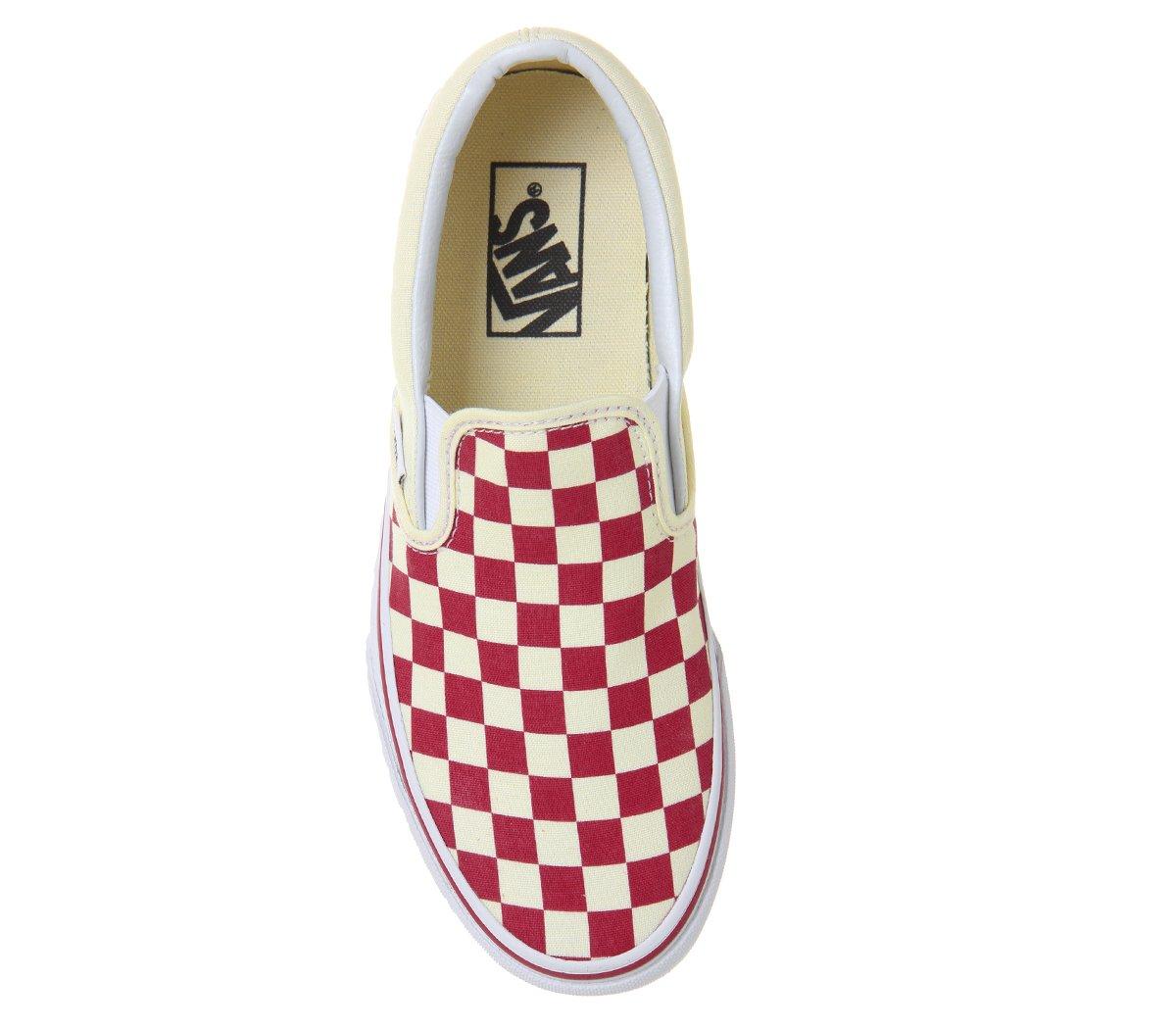 Vans Unisex Classic (Checkerboard) Slip-On Skate Shoe B07B4RTVYL 5 M US Women / 3.5 M US Men|(Checker) Racing Red / White