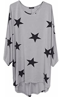 Womens Ladies Batwing Baggy Star Print Loose Fit Hi Lo Knitted Jumper Top