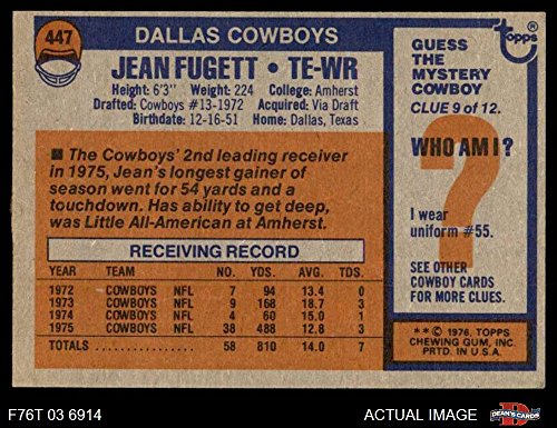 Amazon com: 1976 Topps # 447 Jean Fugett Dallas Cowboys