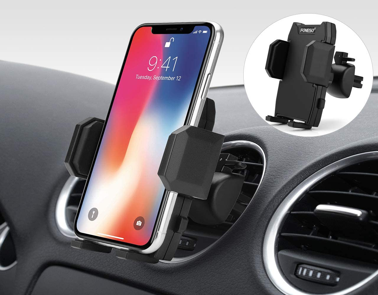 Foneso Soporte Movil Coche, Soporte Celular Universal Rejilla Ventilación con Rotación 360 Grados y Abrazadera Ajustable para iPhone 11 XS MAX/XR/X Samsung S10/S9/S8 Huawei P30pro