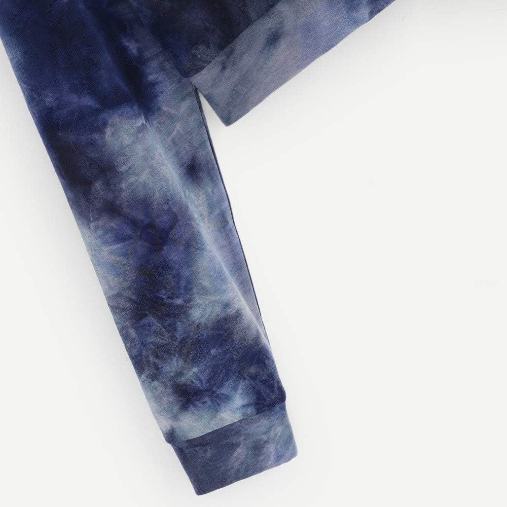 Anxinke Women Girls Tie Dyed Printed Long Sleeve Hooded Crop Top