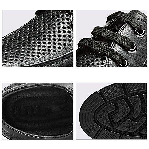 Pisos Cuero Zapatos con Tacón Respirable Hombres para Los Punta Redonda De Hombres Black Negocios De Cordones De De Verano Negro De De APgrXA