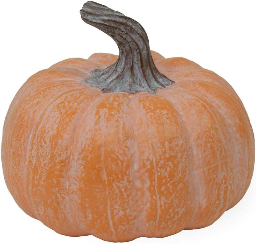Boston International Decorative Pumpkin Tabletop Décor, Orange Chalk