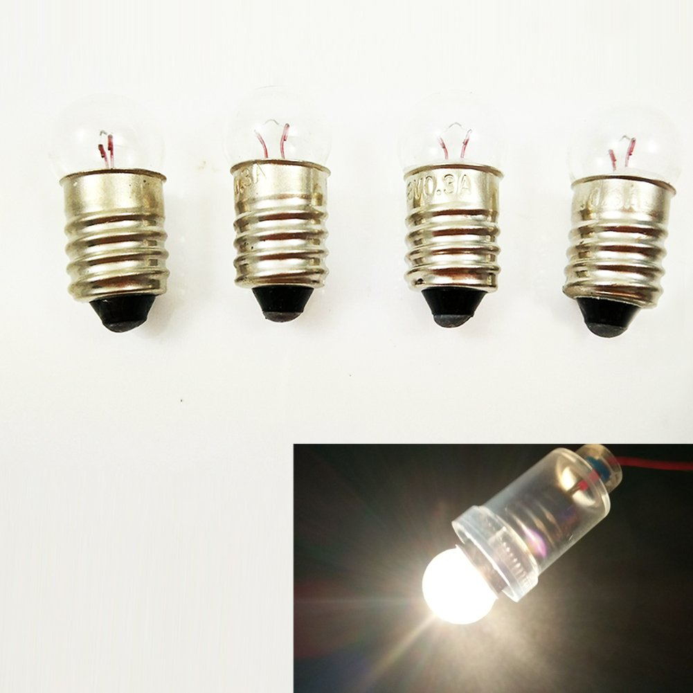 20x E10 4.8V / 0.5A Miniature Screw Base Light Bulb Lamp Flashlight Torch Work Light DIY Experiment (4.8V 0.5A)