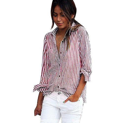 FEITONG Blusa de rayas rojas de las mujeres Camisetas de manga larga Camisetas de manga larga (XL, R...