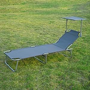 Ajustable tumbona asiento con sol shade-grey–es ideal para uso en su parte trasera patio, terraza, jardín y piscina, para relajarse o simplemente descansar.