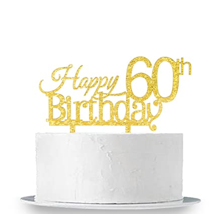 Image Unavailable Not Available For Color INNORU Happy 60th Birthday Cake Topper