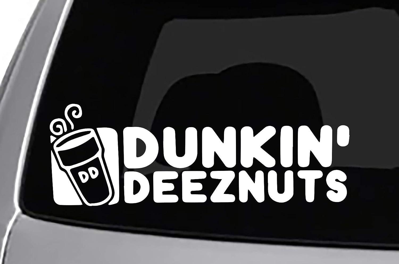Amazon com seek racing dunkin deez nuts decal cool car truck bumper sticker coffee automotive