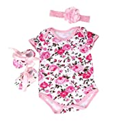 DZT1968® 1 Set Baby Girl Floral Romper With Shoes Headband (0~3 Months)