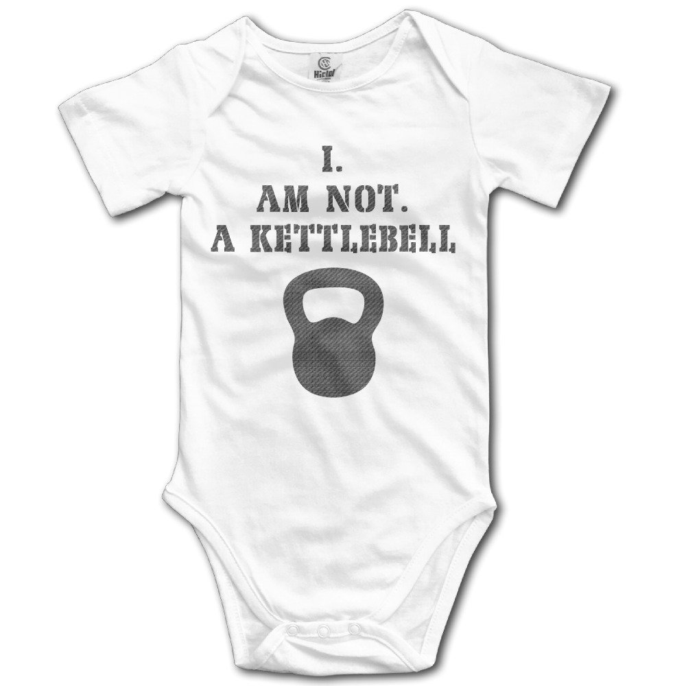 Unisex Baby Workout Fitness I AM Not A KETTLEBELL Printed Short-Sleeve Onesies