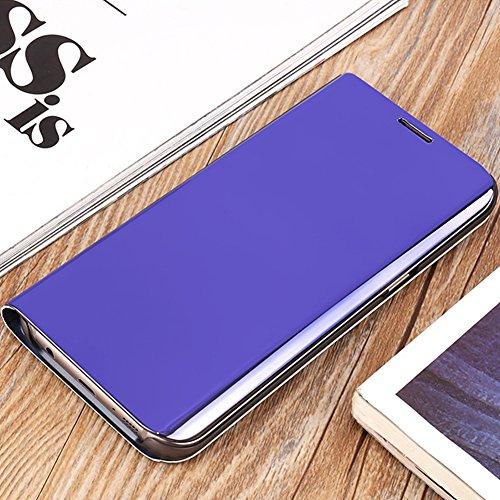 Funda Inteligente Libro Espejo WAKE UP / SLEEP Clear View Standing Cover para Samsung Galaxy S6, Vandot Slim Fit Smart Carcasa de Cuero + Plating PC Stand Flip Full Body Funda Protectora con Función K Clear View-4