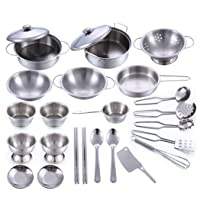 Auwish Kids Stainless Steel Cooking Set 25 Pieces Kitchen Pretend Play Pots Pants...