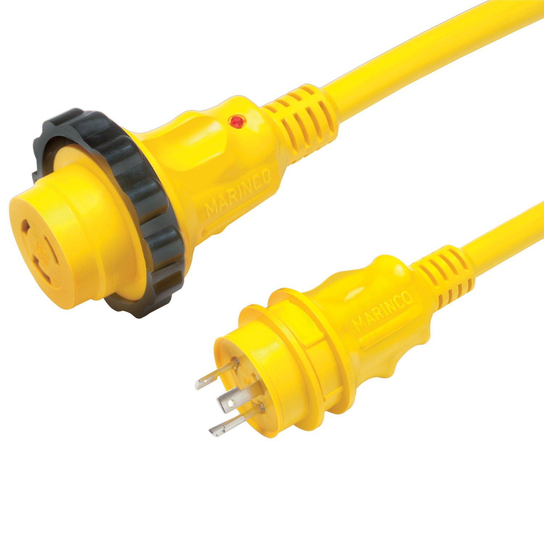 Marinco 30 Amp Power Cord Plus Corset, 35', Yellow