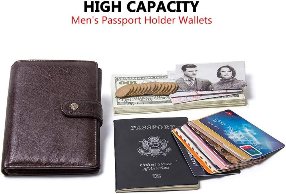 Couleur : Brown Y-LJ Bag Portefeuille Cuir Portefeuille de Passeport avec Boucle en Cuir v/éritable Titulaire de la Carte de cr/édit Cas de Portefeuille de Voyage pour Passeport