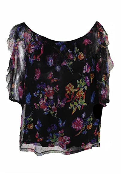 a6cc502340df8d Amazon.com: INC Womens Ruffled Floral Print Blouse Black S: INC  International Concepts: Clothing