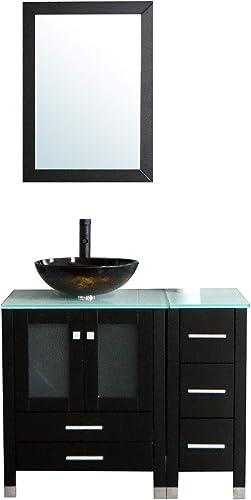 Walcut 36″ Bathroom Vanity and Sink Combo Black Bathroom Vanities MDF Wood Cabinet and Round Glass Vessel Sink Faucet Drain Mirror Combo 2