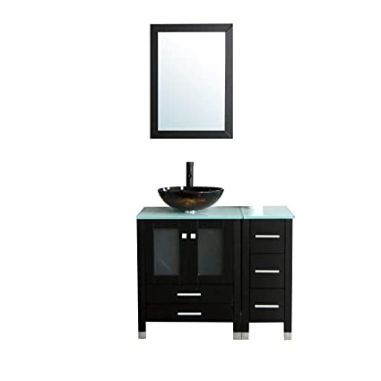 Beau Walcut Black 36u0026quot; Bathroom Vanity And Sink Combo MDF Wood Cabinet And  Glass Vessel Sink