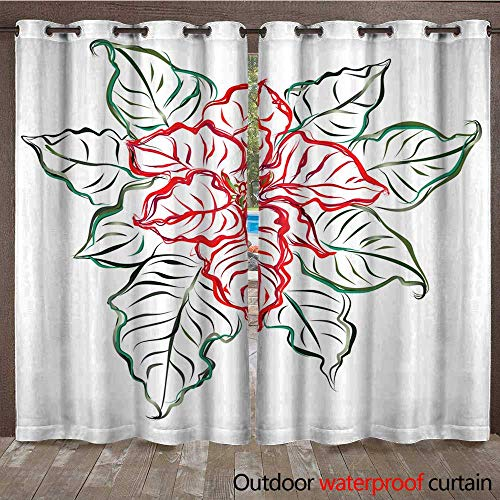 r Curtains for Patio Sheer Poinsettia Plant (Christmas Star) Hand Drawn Vector Brush Sketch W72 x L84 ()
