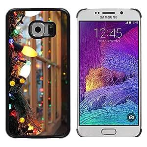 Paccase / SLIM PC / Aliminium Casa Carcasa Funda Case Cover para - Christmas Lights Colorful Bright Window - Samsung Galaxy S6 EDGE SM-G925