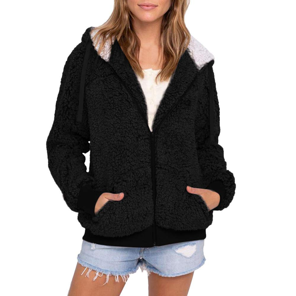 Vickyleb Womens Solid Zipper Coat Hooded Fluffy Parka Outwear Cardigans with Pocket