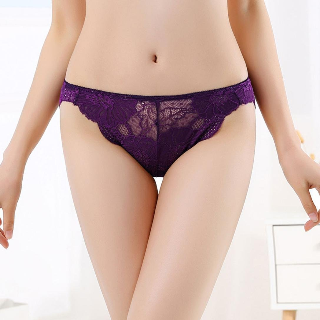 ManxiVoo Women's Floral Lace Briefs Panties Ladies Underwear Underpants Thongs G-String (Free Size, Purple) by ManxiVoo (Image #3)
