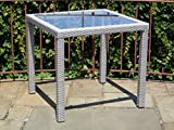 Patio Resin Outdoor Wicker Square 31.5 Inches Dining Table w/Glass Top. Gray