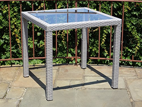 Patio Resin Outdoor Wicker Square 31.5 Inches Dining Table w/Glass Top. Gray by Rattan Wicker Furniture