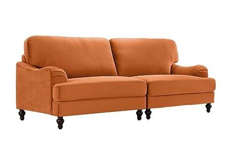 Classic 2 Piece Velvet Convertible Living Room Sofa, Adjustable Couch (Orange)