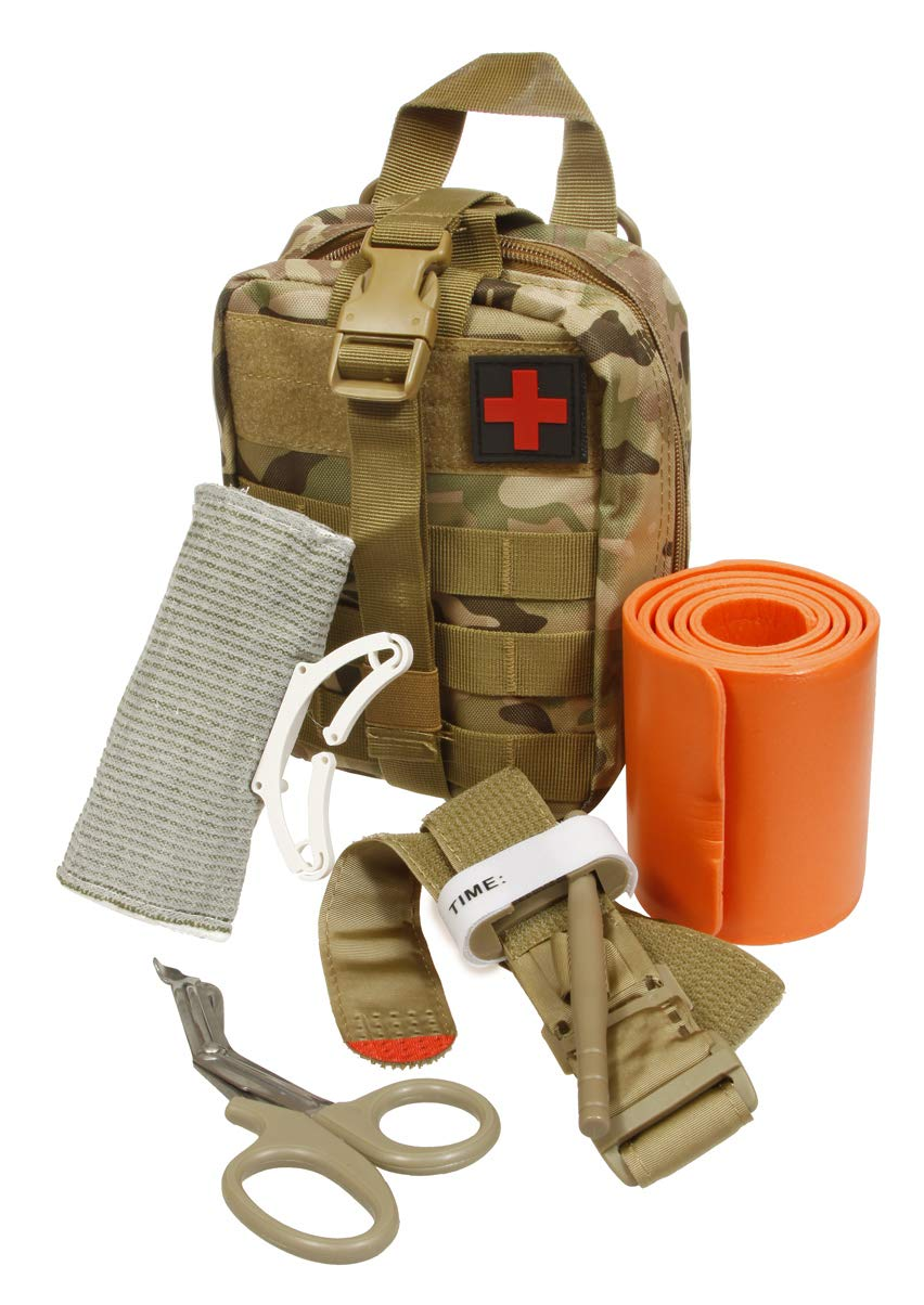 Emergency Survival Trauma Medical Kit with Tourniquet 36'' Splint, Military Combat Tactical IFAK for First Aid Response, Critical Wounds, Gun Shots, Blow Out, Severe Bleeding Control (Camouflage)