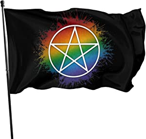 GAJAJAYZXN Pansexual Pride Pentacle Garden Flag Patry Flag Outdoor Flag Garden Flag Outdoor Yard Flag Wall Lawn Banner Home Flag Decoration 3' X 5'