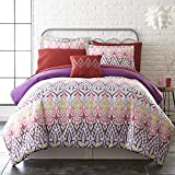 8 Piece Girls Multi Color Bohoemian Comforter King Set, All Over Tribal Aztec Southwestern Bedding, Coloful Boho Chic Ikat Southwest Tribe Themed Pattern, Purple Pink Blue Red Yellow Green Brown