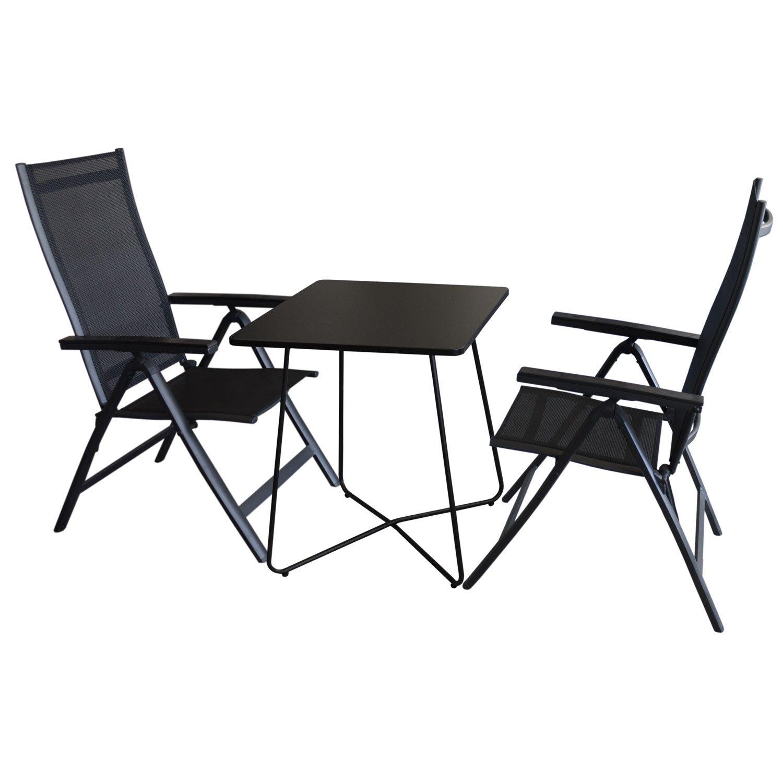 3tlg. Balkonmöbel Set Bistrotisch, Metall, 60x60cm, Schwarz + 2x ...