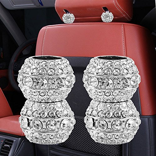 Chrome Decoration - Sino Banyan Headrest Collar for Car Interior Decoration,Chrome Crystal Bling Style(4 Pack)