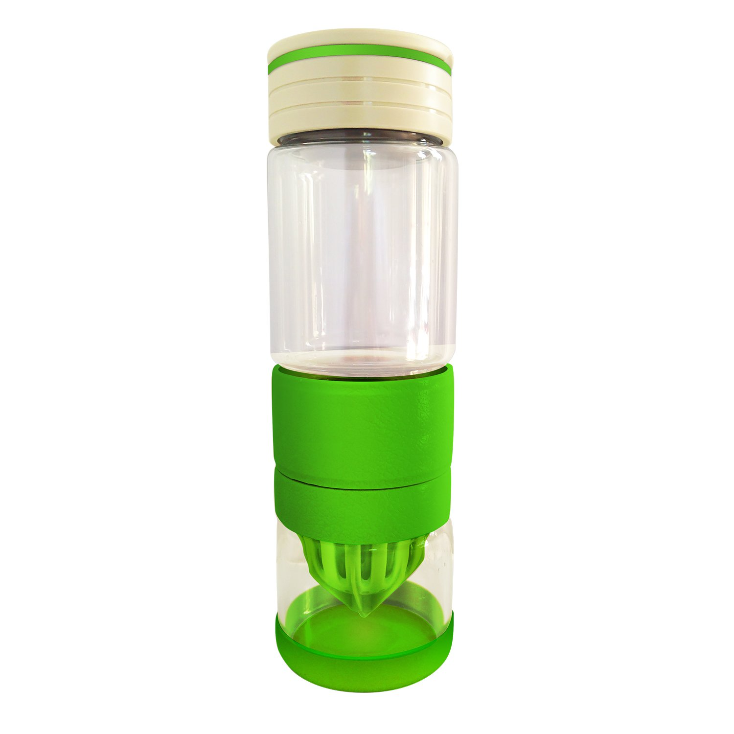 Glass Citrus Juicer Water Bottle: BPA-free Manual Squeezer Makes Healthy, Natural Flavored Water with Lemon, Lime, Orange, or Other Fruit. Eco-Friendly, Leak Proof, With Silicon Bumper for Protection. Fits Your Active Lifestyle!