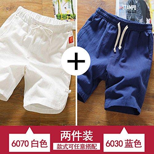 blanc bleu M HAIYOUVK courtes Hommes's été Loose Pants Solid Couleur été Décontracté Pants Hommes's Thin Section Sports plage Pants Hommes's Pants
